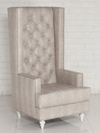 Tall Boy Tufted Wing Chair in Neutral Faux croc