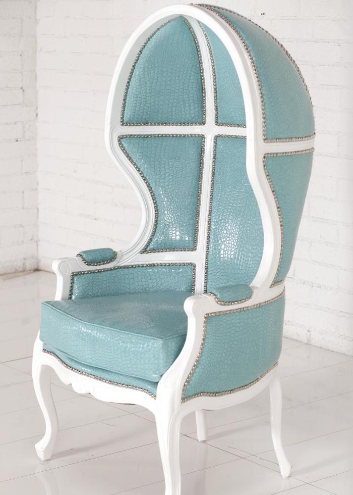 Superbe Balloon Chair In Aqua Croc