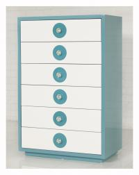 Tall Boy Boca Dresser in Aqua and White