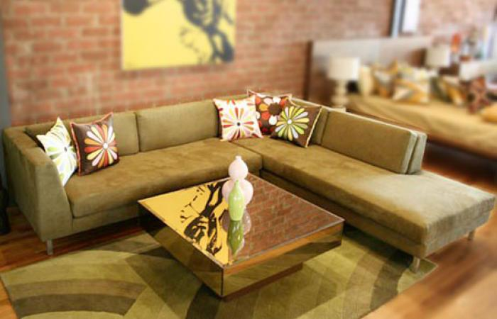 A & A Sectional with Doro Suede Olive