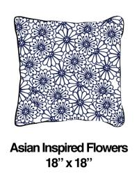 Asian Inspired Flowers Blue