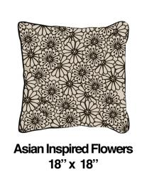 Asian Inspired Flowers Black Oatmeal