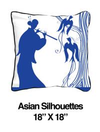 Asian Silhouettes Blue