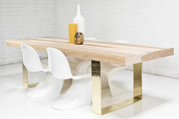 Fat Brass U Leg Hickory Dining Table