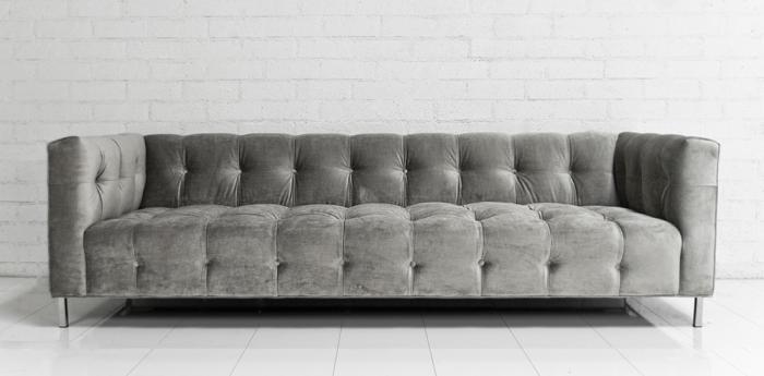 DeLano Sofa In Silver Velvet