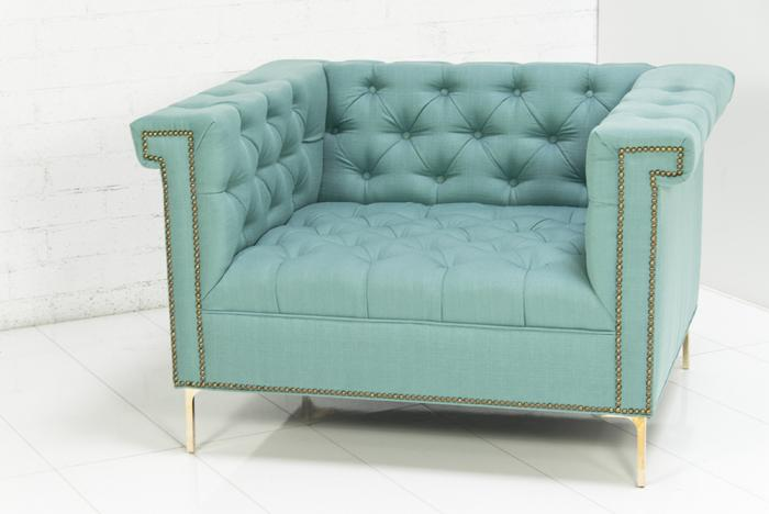 Beau Sinatra Arm Chair In Turquoise Textured Linen