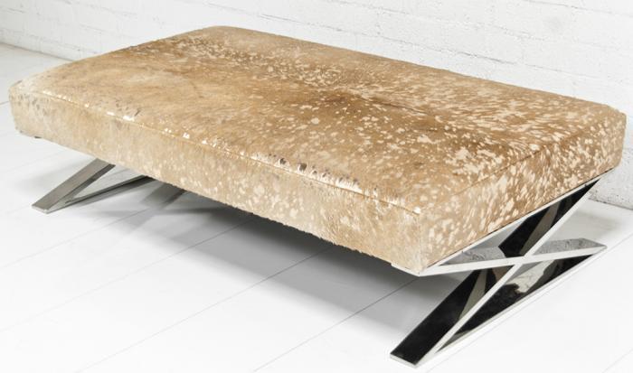 Www Roomservice Chrome X Leg Cowhide Ottoman - Cowhide Ottoman Coffee Table CoffeTable