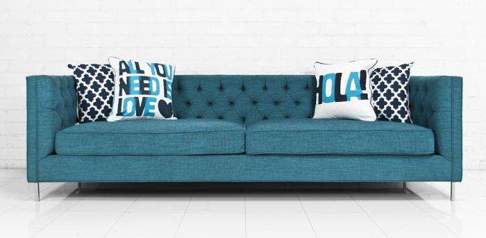 Tufted 007 Sofa In Turquoise Textured Fabric