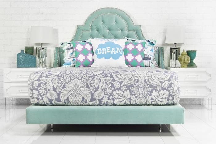 Bel Air Bed In Aqua Velvet