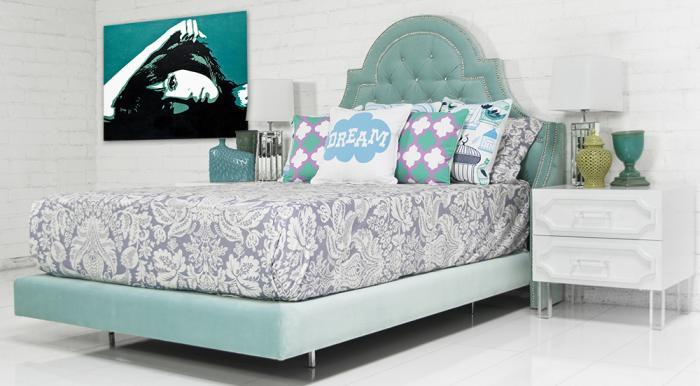 Www.roomservicestore.com   Bel Air Bed In Aqua Velvet