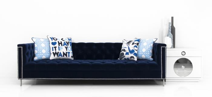 Hollywood Sofa In Regal Navy Velvet