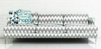 Down With Love Sofa in Chevron Print Zig Zag Linen
