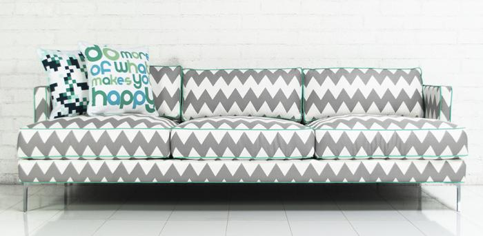 Down With Love Sofa In Chevron Print Zig Zag Linen