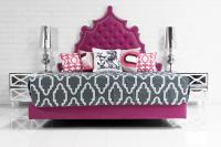 Casablanca Bed in Pink Velvet