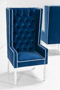 Ultra Tall Mod Wing Dining Chair in Royal Blue Velvet