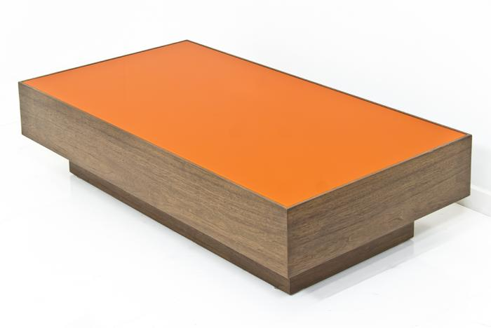 Walnut Orange Plexiglass Box Coffee Table