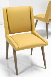 Mid Century Dining Chair in Golden Linen