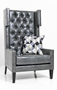 Tangier Wing Chair in Shiny Charcoal Faux Croc Leather