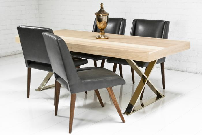 Awesome Dining Table With Gold Legs Part - 3: Gold X-Leg Hickory Dining Table