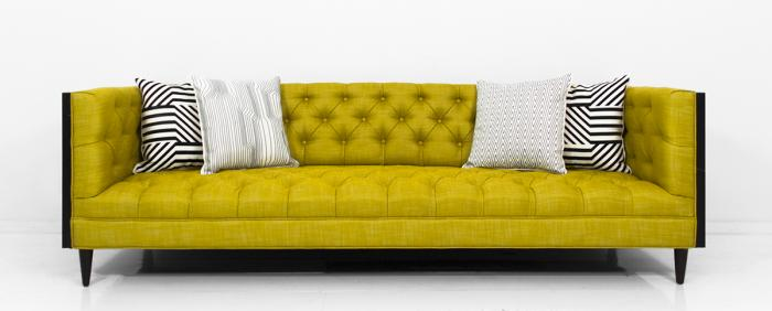 koenig sofa in yellow linen and dark walnut. Black Bedroom Furniture Sets. Home Design Ideas