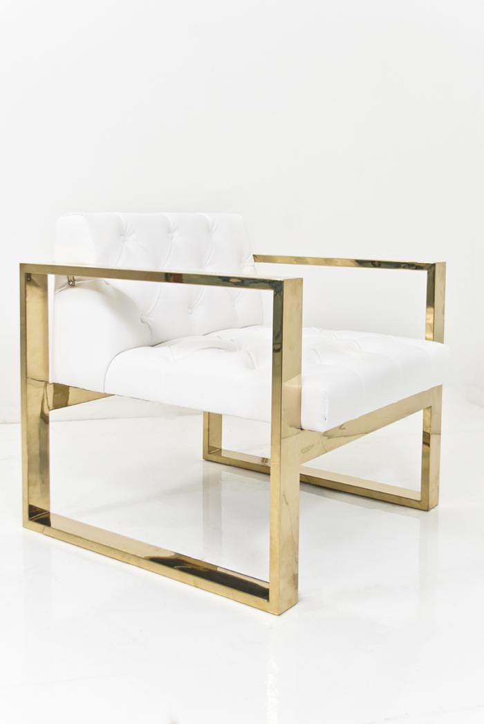 Brass Kube Chair in Ford White Faux Leather