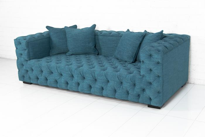Tufted fat boy sofa in lucky turquoise - Turquoise sofa ...