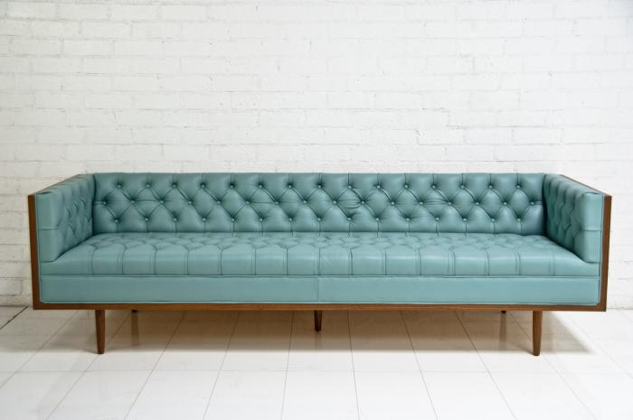 Koening Sofa in Pale Blue Leather