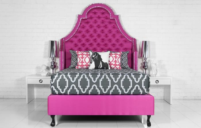 Extra Tall Bel Air Bed In Pink Textured Linen