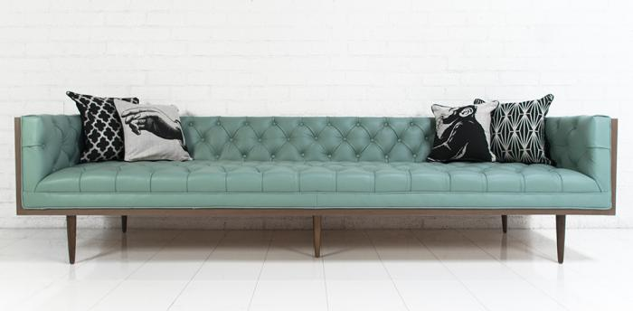 Neutra Sofa In Pale Blue Leather