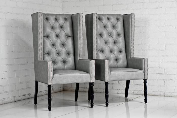 com ultra tall mod wing dining chair in faux grey leather