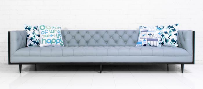 Koenig Sofa In Samba Powder Blue Leather