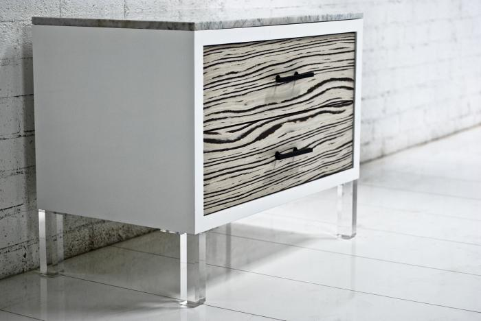 White Macassar Side Table With Marble Top