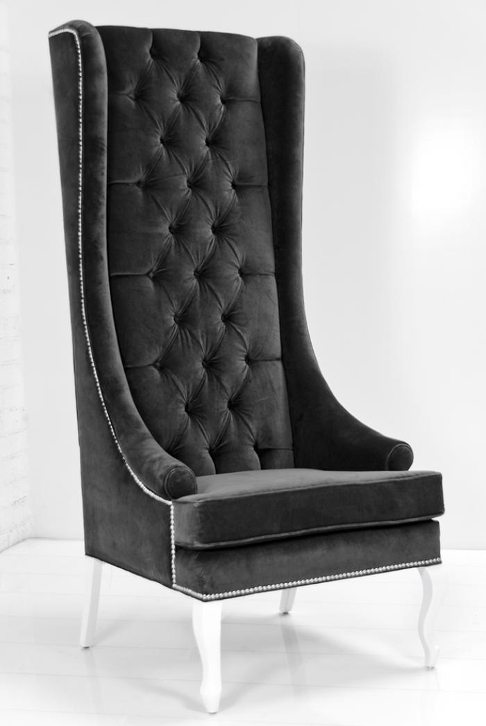 Wing Chair In Charcoal Velvet