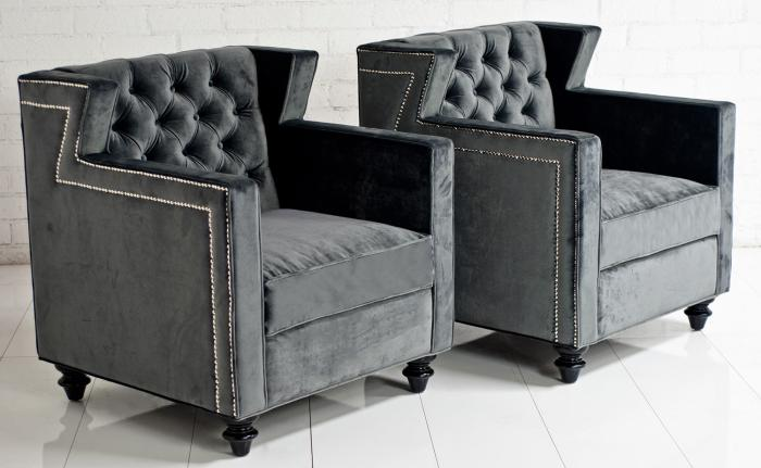 Beverly Hills Arm Chair in Cosmic Grey