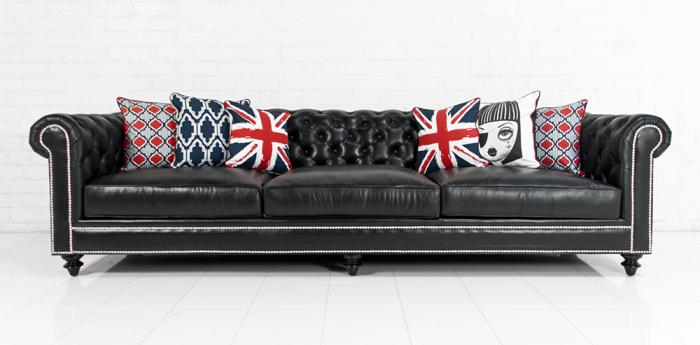 Chesterfield Sofa In Genuine Black Leather