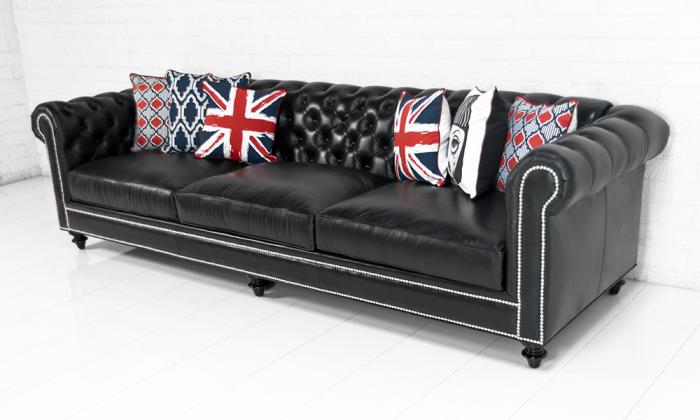 chesterfield sofa in genuine black leather. Black Bedroom Furniture Sets. Home Design Ideas