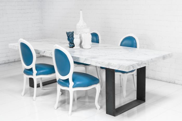 Farmhouse Italian Carera Marble Dining Table