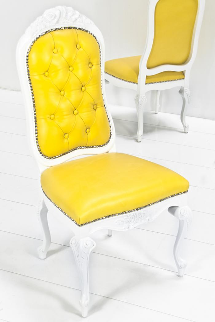 com monte carlo dining chair in sunshine yellow leather