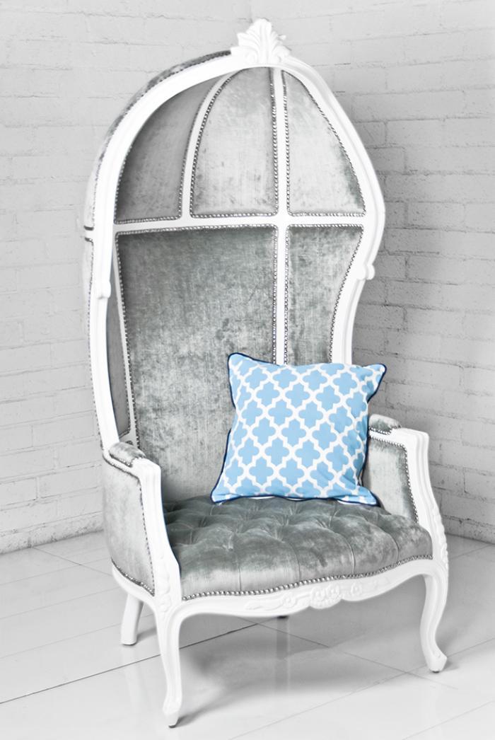 French Twist Balloon Chair In Silver Gray Velvet