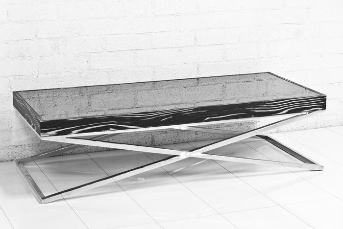 Black And White Macar Gl Chrome X Leg Coffee Table