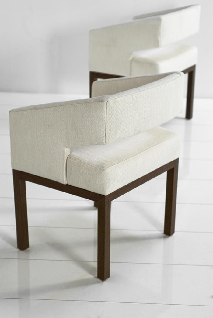 Superieur Open Back Chairs In Textured Cream Linen