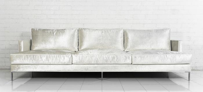 High Quality Down With Love Sofa In Cream Croc Velvet