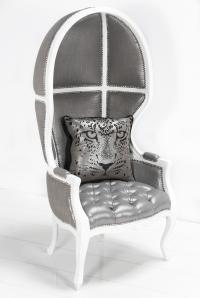 Balloon Chair in Metallic Silver Linen