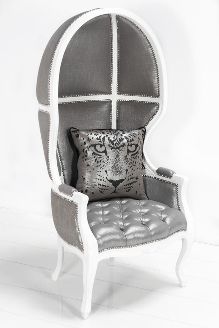 Balloon Chair In Metallic Silver Linen