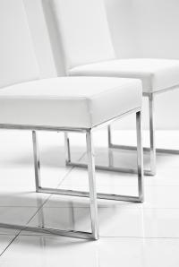 007 Dining Chair in White Leather