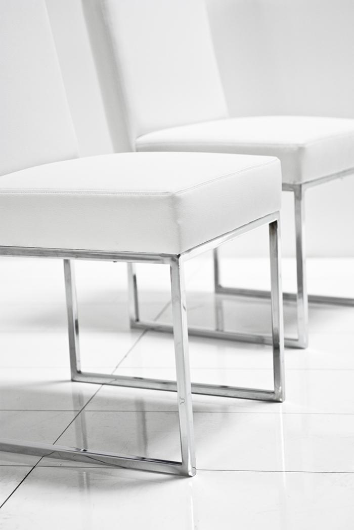 007 dining chair in white leather for White dining room chairs