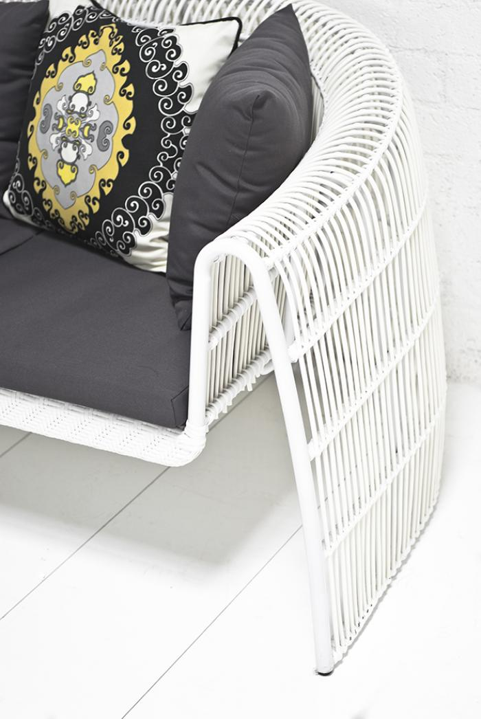 White Rattan Couch And Chair Set