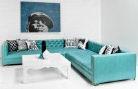 New Deep Sectional in Maverick Turquoise Faux Leather