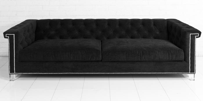 wwwroomservicestorecom Sinatra Sofa in Black Velvet