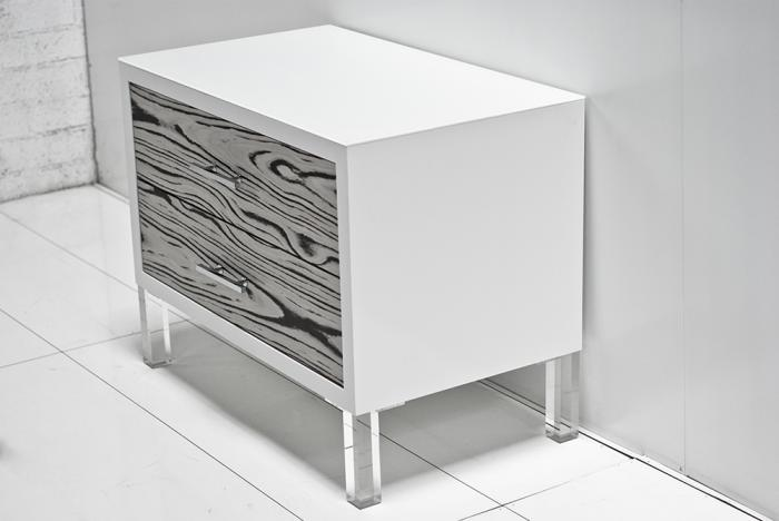 White Macassar Side Table With
